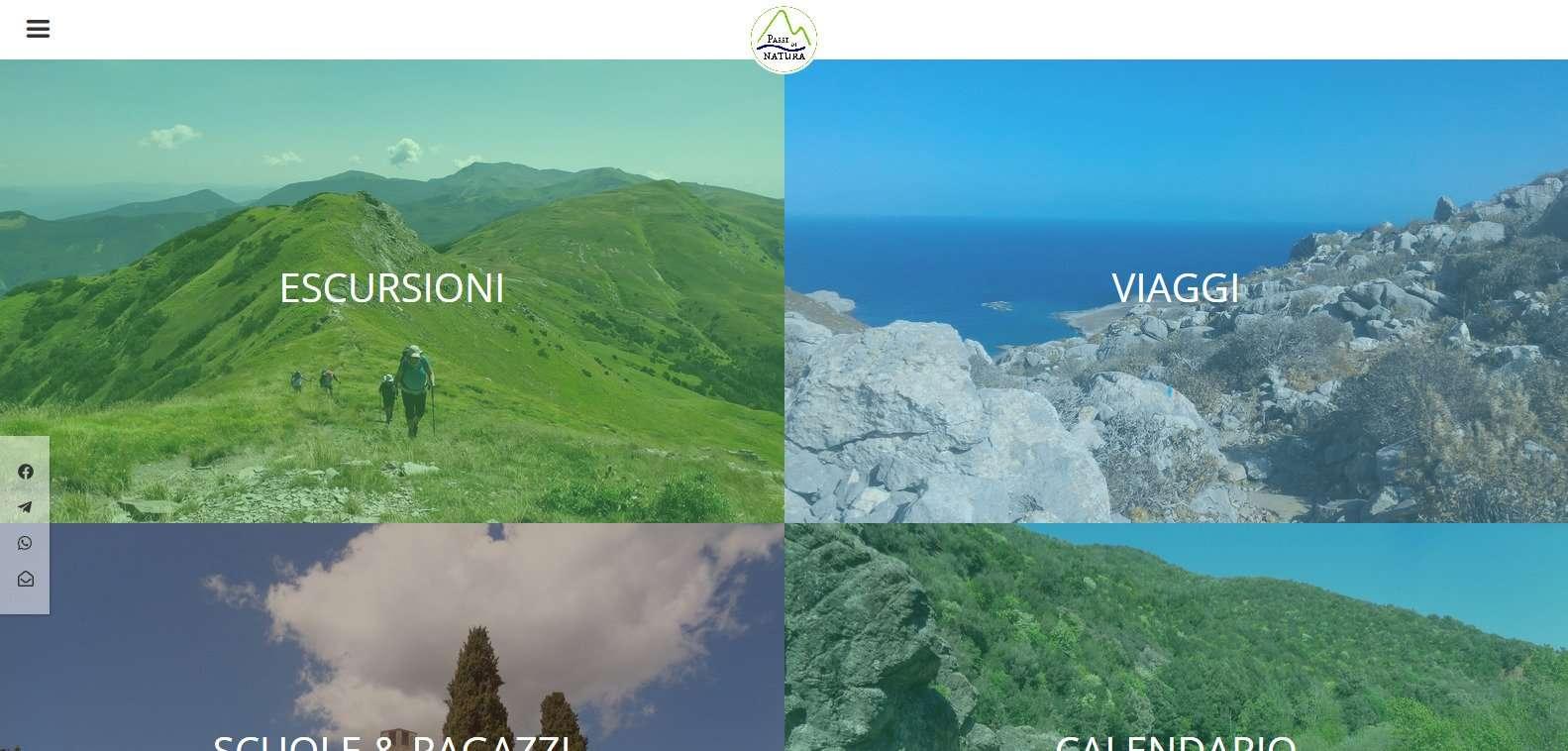 screenshot della homepage di passi di natura